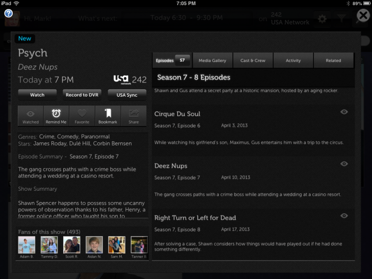 nextguide usasyncbutton 730x547 Second screen app NextGuide adds real time syncing for USA Network TV shows