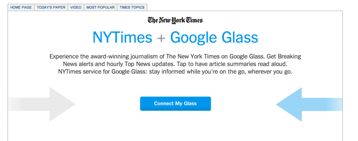 nyt googleglass 730x288 The New York Times releases a Google Glass app that reads article summaries aloud