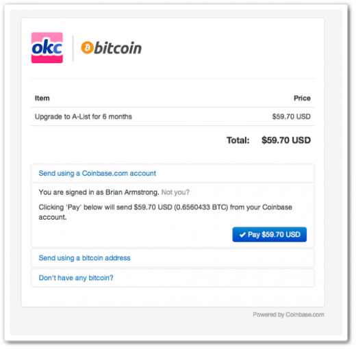 okcupid coinbase 520x510 OKCupid partners with Coinbase to become the latest Web service to support Bitcoin