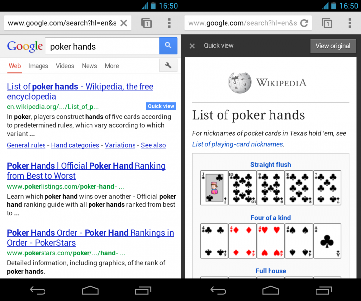 poker hands 730x608 Google speeds up mobile search with expandable site links and experimental Quick view badges for Wikipedia