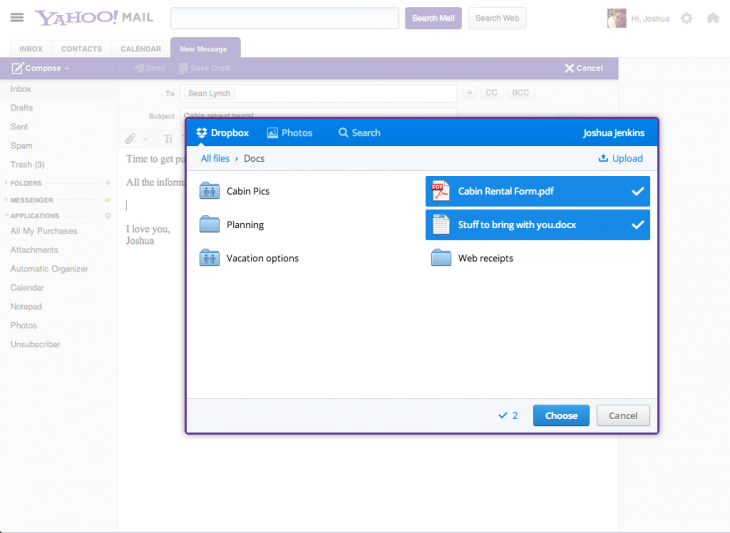saver blog post 02 730x533 Dropbox partners with freshly redesigned Yahoo Mail to allow for attachments of any size