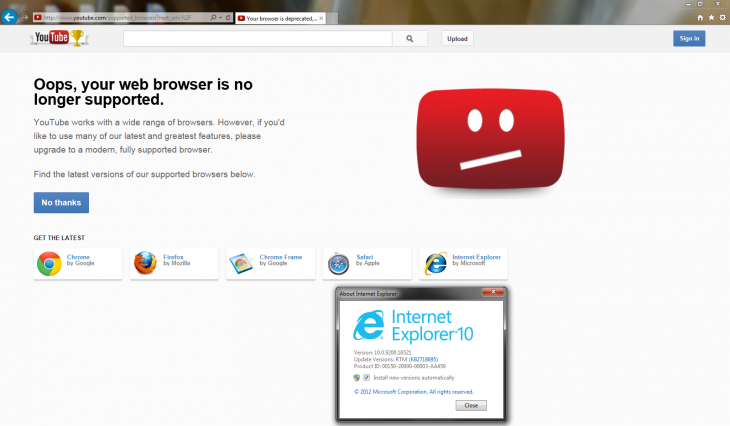 youtube ie10 windows7 730x426 Possible bug causes YouTube to detect IE10 on Windows 7 and IE8 as no longer supported