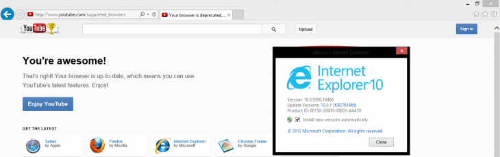 youtube ie10 windows 8 730x229 Possible bug causes YouTube to detect IE10 on Windows 7 and IE8 as no longer supported