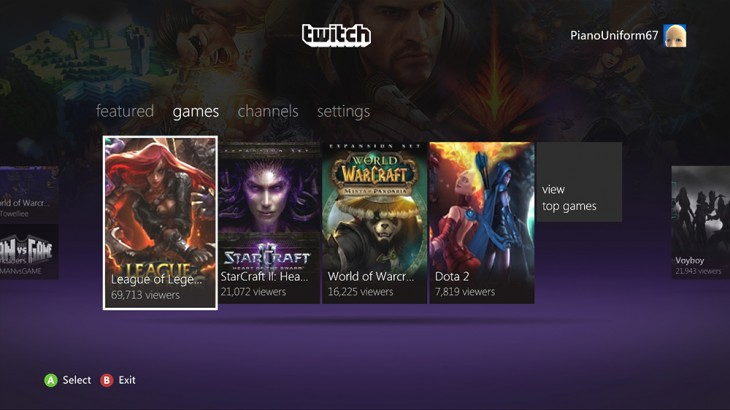 1 730x410 Twitch takes its video streaming app for gamers to the Xbox 360, but its for spectators only