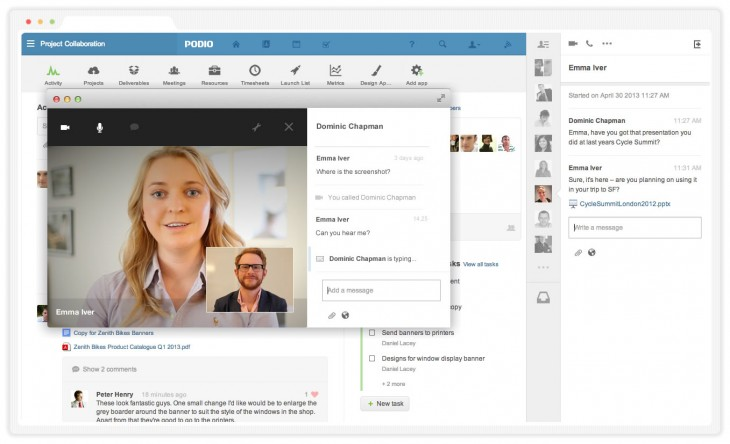 3 Video chat 730x444 Citrixs work collaboration tool Podio gets cross platform IM group chat, with audio and video to come