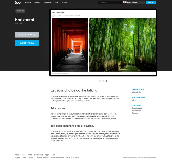 500px Portfolios Theme 730x687 Now serving over 1B page views per month, 500px launches completely redesigned professional photo portfolios