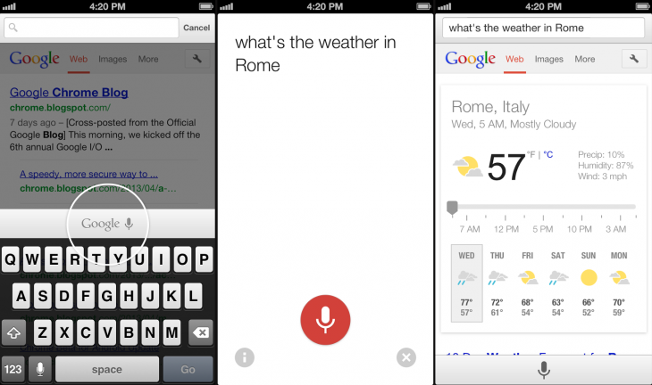 Chrome for iOS Voice Search 730x432 Google Chrome 27 for iOS is out: Improved voice search, better voice recognition, and faster page reloads