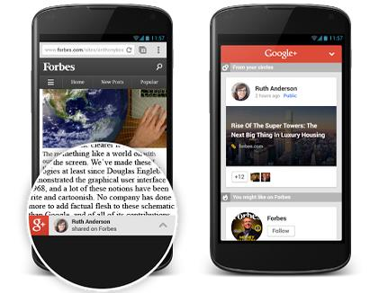 Gplus Google targets mobile Web publishers with content recommendation tool built on Google+ activity