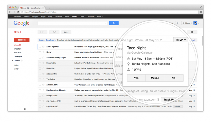 RSVPScreenshot 730x421 Gmail is getting quick action buttons that let you RSVP to events, rate restaurants, view flights, and more