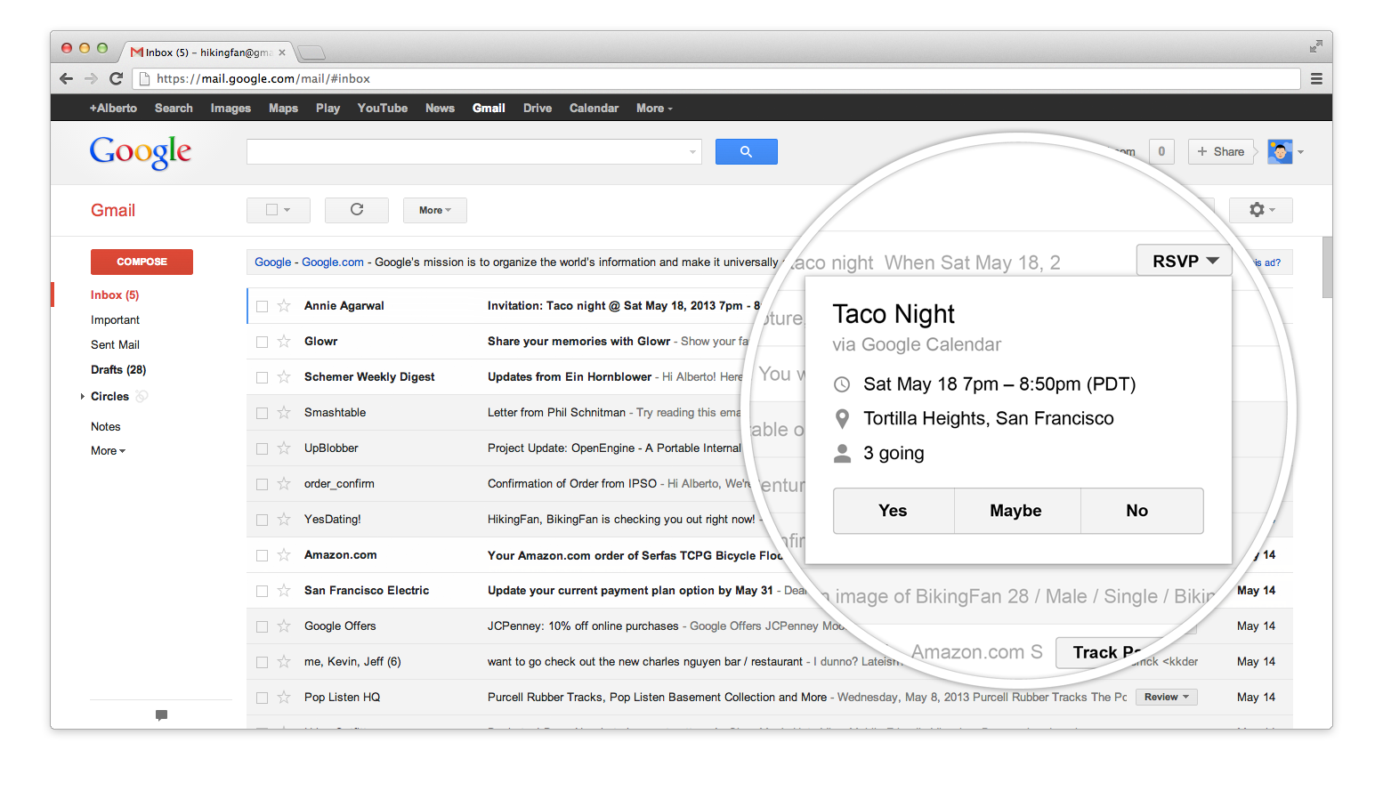 another example google offers is flight confirmation emails when you ...