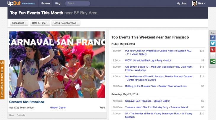 Screen Shot 2013 05 22 at 10.17.33 730x408 UpOut lands $850,000 to expand its local event discovery service beyond San Francisco