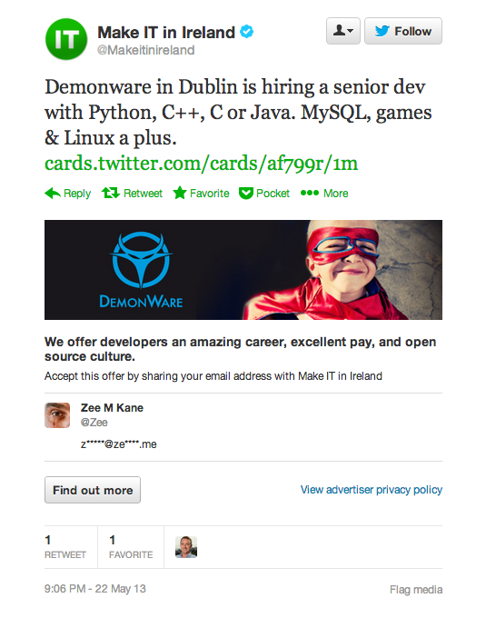 Screen Shot 2013 05 22 at 4.48.00 PM Check out the worlds first job ad integrated into Twitter. Lets candidates apply without leaving the site.