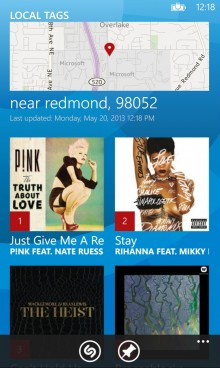 Shazam Local Tags 220x368 Shazam officially hits Windows Phone 8 with homescreen tagging and Xbox and Nokia Music integration