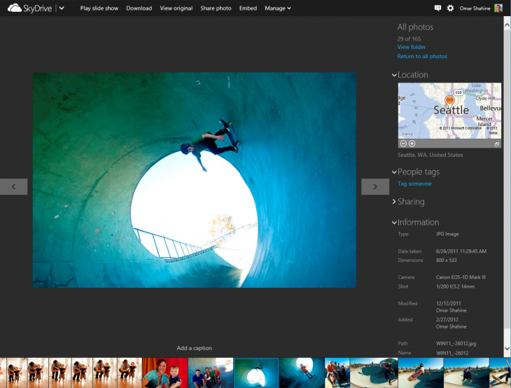 SkyDrive filmstrip view 6A4A45F8 730x554 Microsoft rolls out new SkyDrive timeline and filmstrip views, speeds up photo uploads three fold, and more
