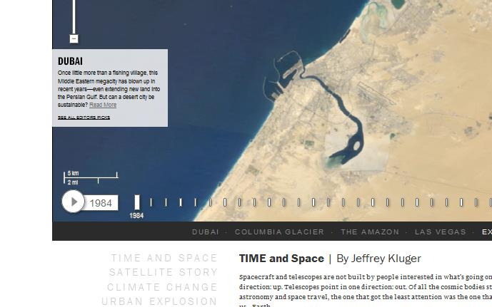 TL3 Google and Time launch satellite photo Timelapse tool, charting changes to the planet over 25 years
