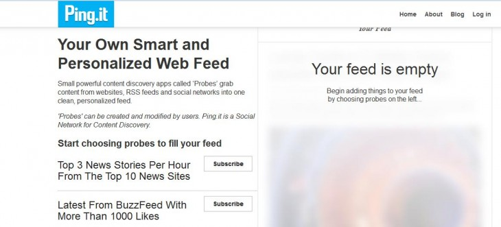 a 730x331 Ping.it: An RSS reader that lets you create tailored feeds by keywords and popularity