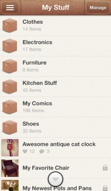 fMy Stuff 220x376 Boxes brings order to your belongings, with a beautiful photo based e commerce iPhone app [invites]