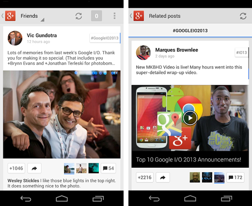 g3 Google+ app for Android updated with new photo editing features, related hashtags and locations area
