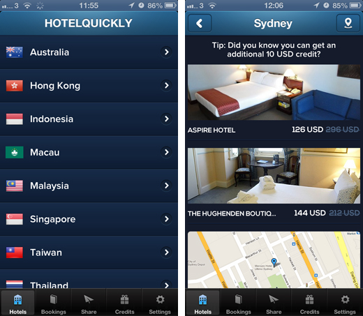 hotelquickly HotelQuickly launches its same day hotel booking app in Australia with Sydney and Melbourne listings