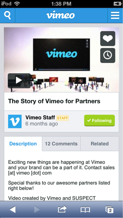 newmobile3 Vimeo overhauls its mobile site with commenting, improved search, video uploading, and more