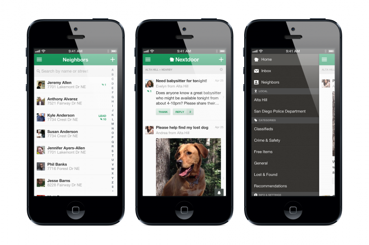 nextdoor iphone 3up 730x486 Hyperlocal social network Nextdoor launches an iOS app as it prepares to go global this year