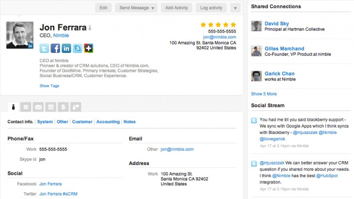 nimble contact 730x410 Nimbles CRM platform gets more social with Linkedin like Today feature, filtering and more apps