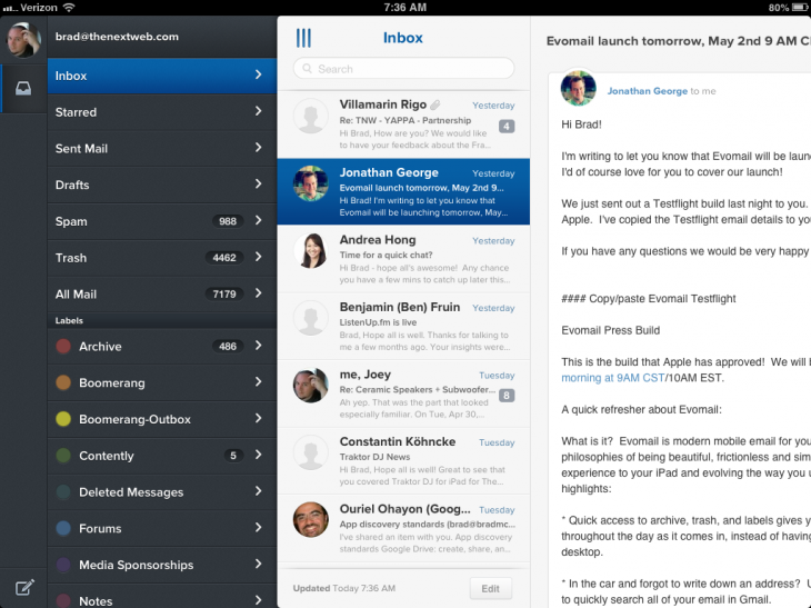 photo 2 730x547 Evomail for iPad is a slick and beautiful email client, no learning curve required