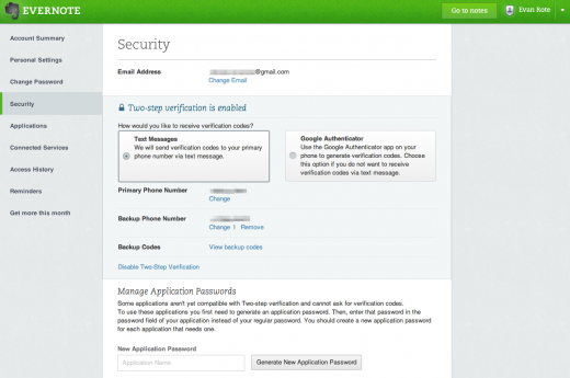 photo 5 520x345 Evernote rolls out 2 factor authentication to premium accounts, coming to all users in near future