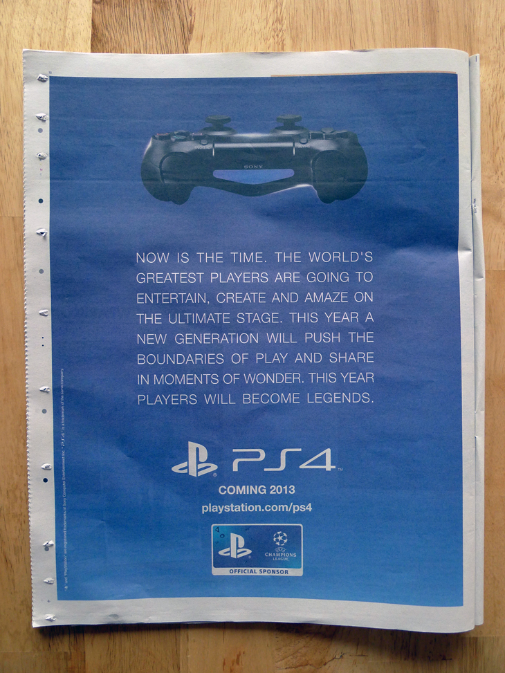 ps4ad Sony newspaper ad reveals the PlayStation 4 will launch in the UK by the end of 2013
