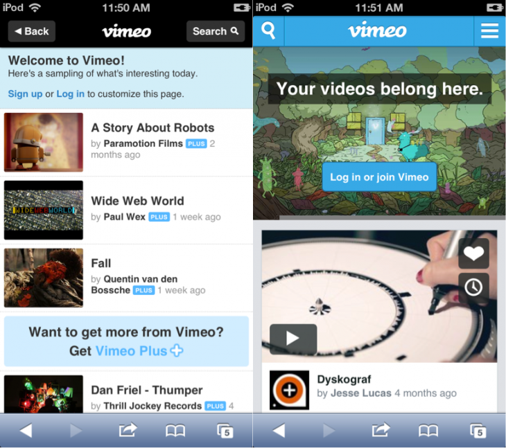 vimeo mobile 730x647 Vimeo overhauls its mobile site with commenting, improved search, video uploading, and more