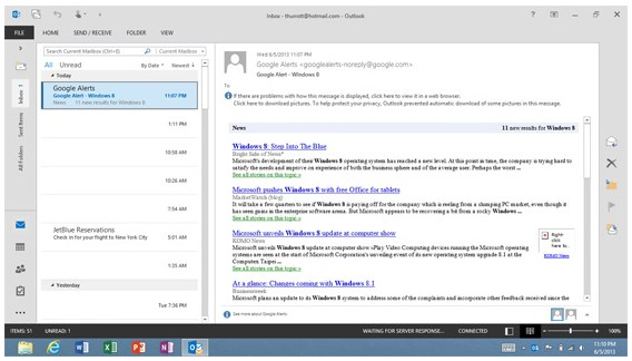 2013 06 06 12h19 242 Heres an early look at Outlook 2013 RT, coming as part of Windows 8.1