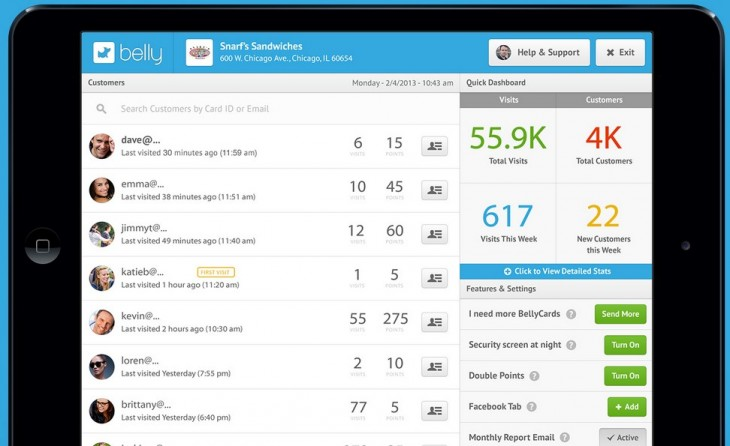2013 06 11 23h29 58 730x446 Now at 6,000 customers, Belly expands its merchant facing rewards service and sampling tool