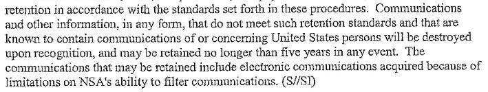 2013 06 20 13h10 18 Rules dictate the NSA can store collected communications of US citizens for up to five years, sans warrant