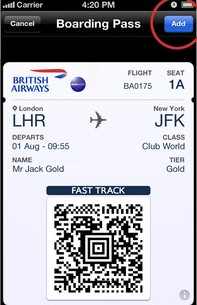 BAPASS British Airways iPhone app is now Passbook enabled, will soon link to boarding passes from lock screen