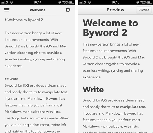 Byword1 Beautiful writing app Byword for iOS adds instant publishing to WordPress, Tumblr, Evernote and more