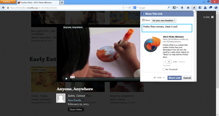 Facebook Screenshot 730x388 Firefox 23 arrives with new logo, share button, mixed content blocker, network monitor, and more
