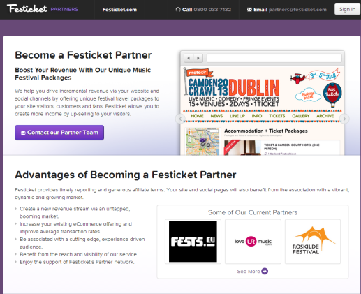 Festicket Partner Festicket just made it easier for affiliates to resell festival packages through their own websites