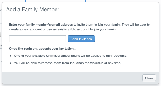 Rdio 1 Rdio now allows up to 5 people on its family subscription plans