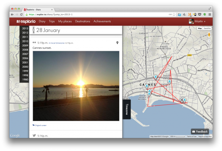 Screen Shot 2013 06 17 at 13.47.17 730x497 Esplorio uses your online history to create an interactive location diary of everywhere youve been