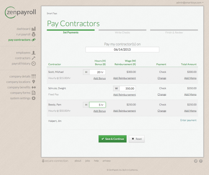 ZenPayroll Pay Contractors 730x611 ZenPayroll now logs payments made by a business to a contractor through direct deposit