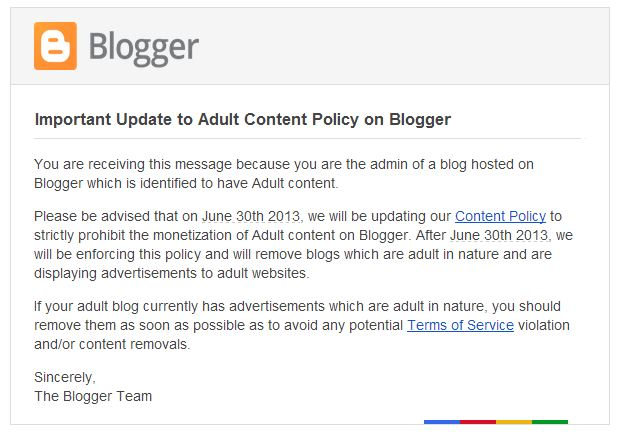 blogger capture Google will remove all Blogger sites that monetize adult content, from June 30
