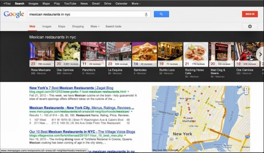 Google adds carousel of search results for nearby restaurants, bars and other local places