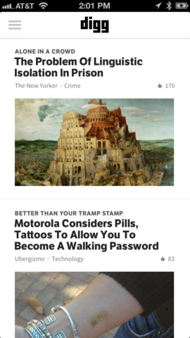digg1 Digg updates its iOS app to bring its Digg Reader RSS service to mobile