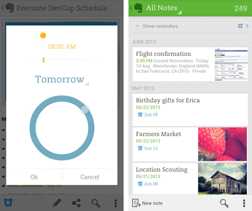 evernote1 Evernote adds custom reminders to its collaborative note taking app on Android