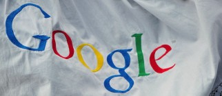 An embroided Google logo is pictured dur