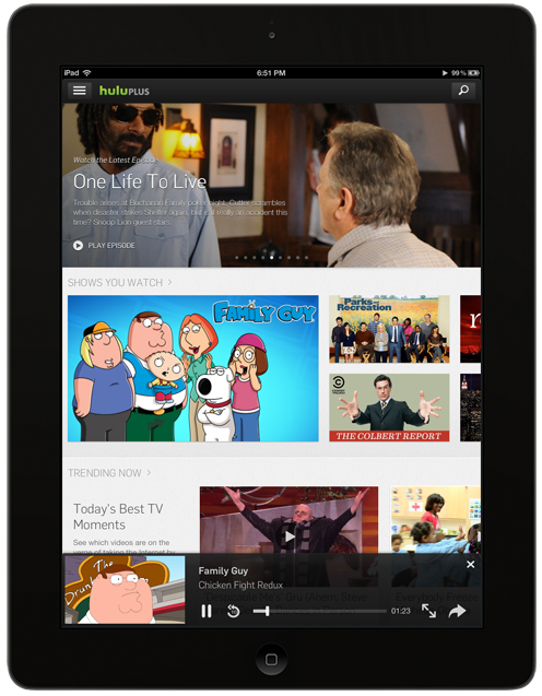 iPad portrait v2 Hulu Plus for iPad redesigned with new discovery panel, minimizing during playback, curated collections, and more