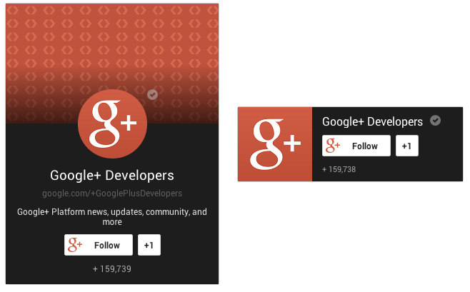 page badge blog Google rolls out a new Google+ Follow button for sites and new badges for Communities, Pages, and Profiles