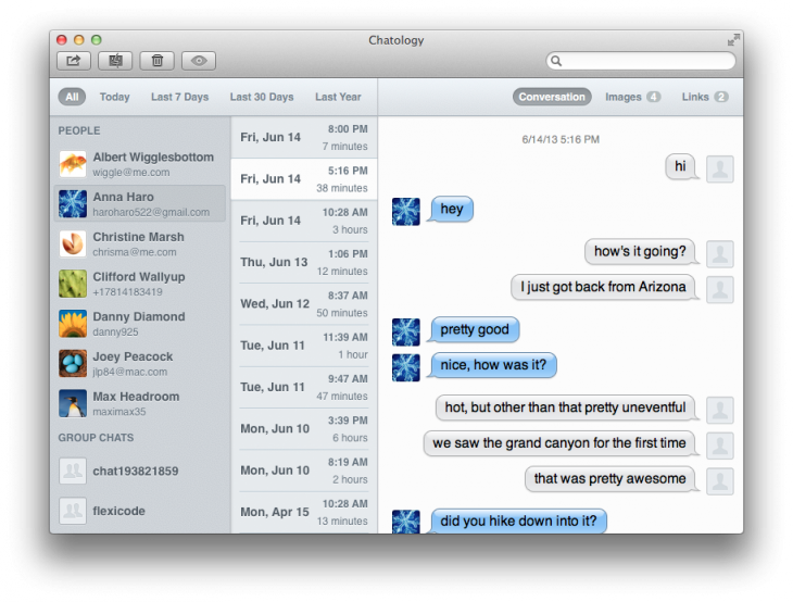 screenshot 1 730x554 Chatology is a brilliant search engine for OS X Messages