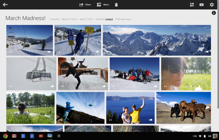 single album 730x468 Google launches Google+ Photos app for the Chromebook Pixel, says support for other Chromebooks coming soon