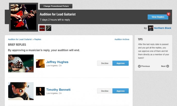 7 Audition replies1 730x439 Music industry matchmakers Giggem introduces Auditions to help bands recruit new members